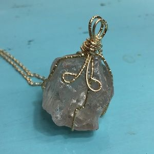 Handmade stone faux gold wire wrapped necklace